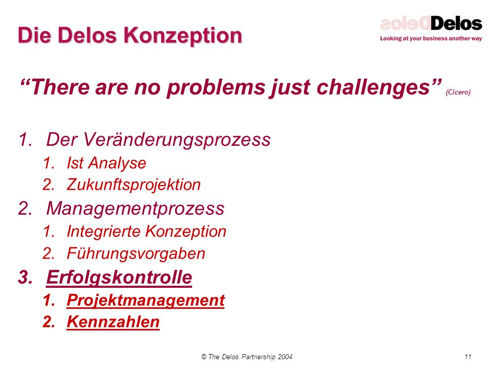 11© The Delos Partnership 2004 Die Delos Konzeption There are no problems just challenges (Cicero) 1.Der Veränderungsprozess 1.Ist Analyse 2.Zukunftsp