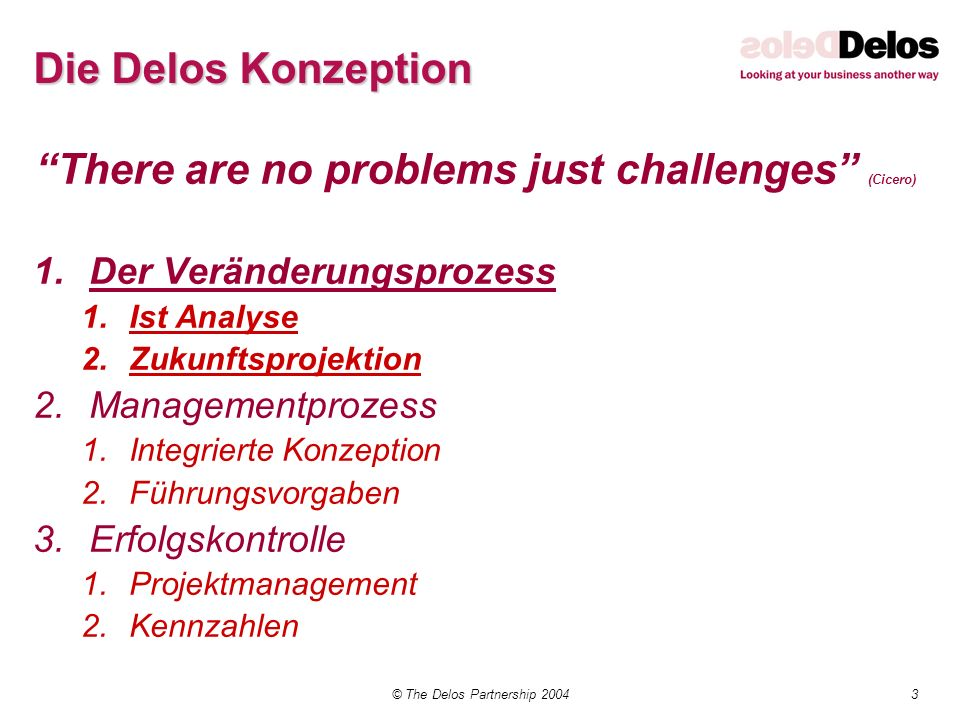 3© The Delos Partnership 2004 Die Delos Konzeption There are no problems just challenges (Cicero) 1.Der Veränderungsprozess 1.Ist Analyse 2.Zukunftspr
