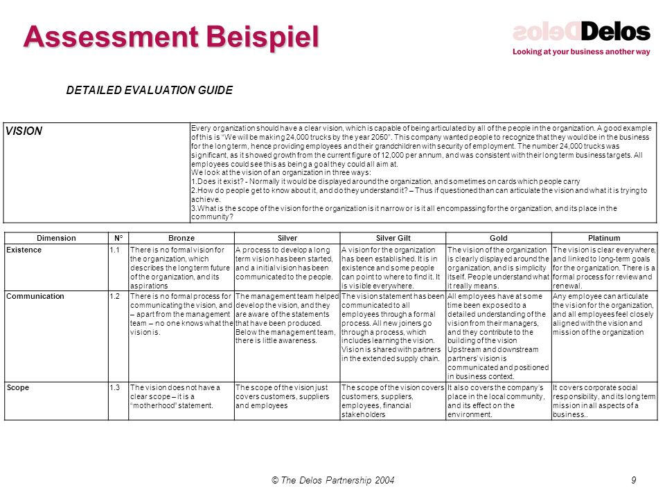 9© The Delos Partnership 2004 Assessment Beispiel DETAILED EVALUATION GUIDE VISION Every organization should have a clear vision, which is capable of