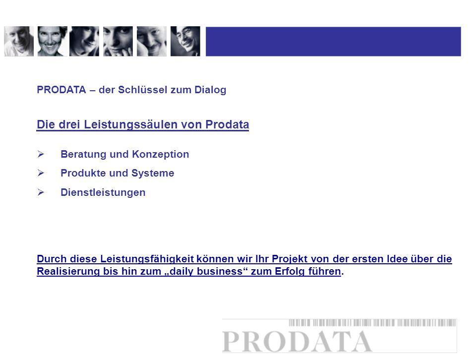 Beratung und Konzeption Produkte und Systeme Dienstleistungen PRODATA – der Schlüssel zum Dialog Die drei Leistungssäulen von Prodata Durch diese Leis