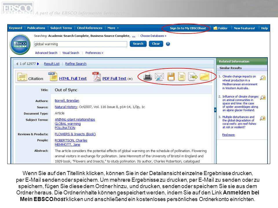 Wenn Sie auf den Titellink klicken, können Sie in der Detailansicht einzelne Ergebnisse drucken, per E-Mail senden oder speichern.