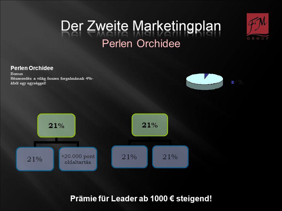 Prämie für Leader ab 1000 steigend! Perlen Orchidee Bonus Részesedés a világ összes forgalmának 4%- ából egy egységgel! 21% +20.000 pont oldaltartás 2