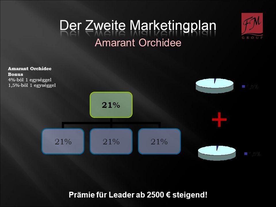 Amarant Orchidee Prämie für Leader ab 2500 steigend! 21% Amarant Orchidee Bonus 4%-ból 1 egységgel 1,5%-ból 1 egységgel +
