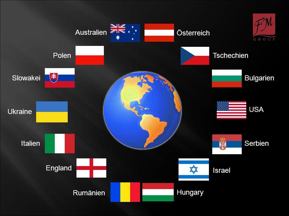 Australien Österreich Tschechien Bulgarien Hungary Polen Serbien Rumänien Slowakei England Israel Italien USA Ukraine