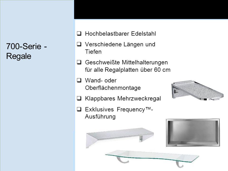 700-Serie - Regale Hochbelastbarer Edelstahl Verschiedene Längen und Tiefen Geschweißte Mittelhalterungen für alle Regalplatten über 60 cm Wand- oder