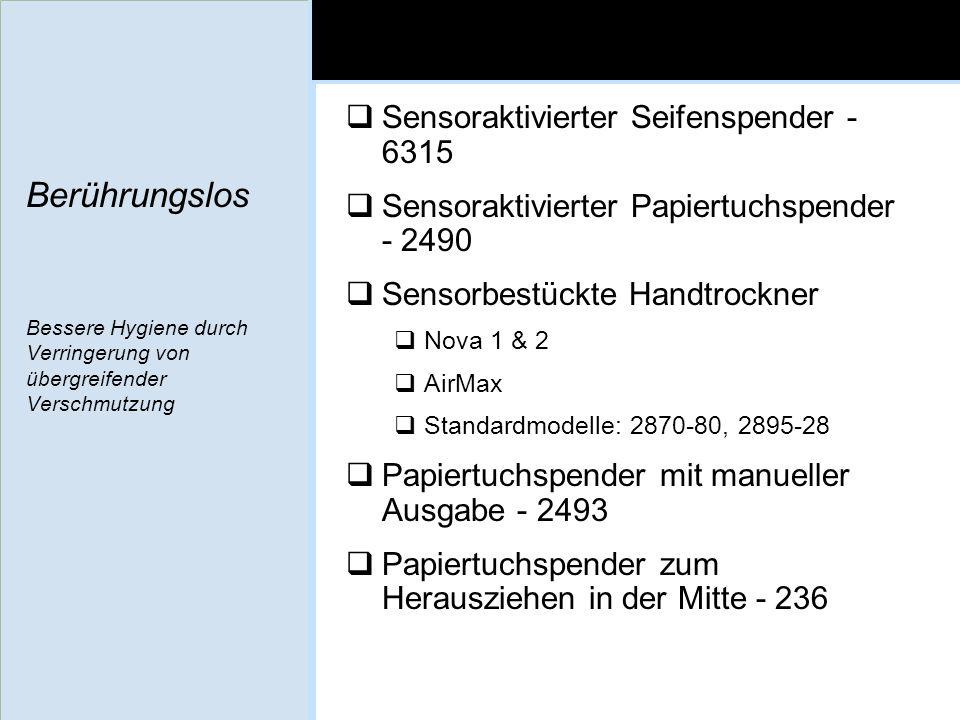 Berührungslos Bessere Hygiene durch Verringerung von übergreifender Verschmutzung Sensoraktivierter Seifenspender - 6315 Sensoraktivierter Papiertuchs