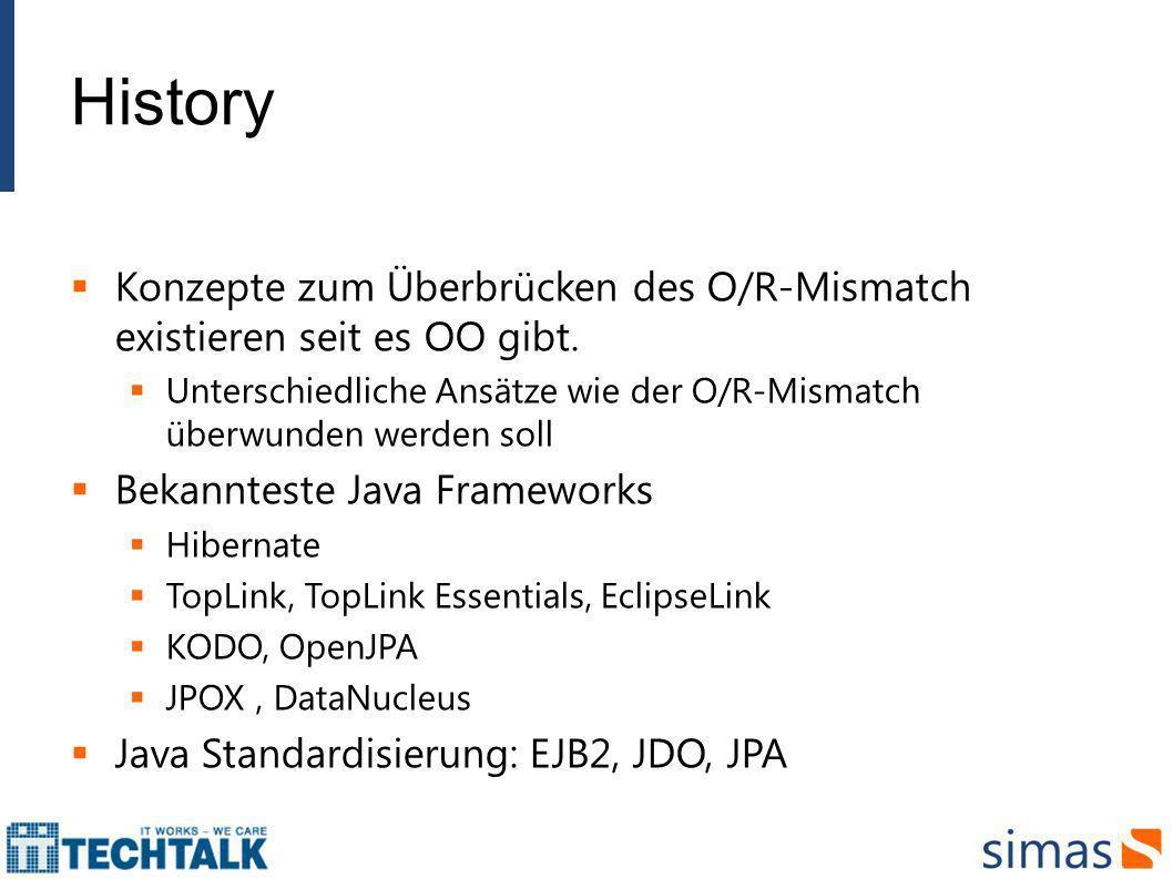 History Konzepte zum Überbrücken des O/R-Mismatch existieren seit es OO gibt. Unterschiedliche Ansätze wie der O/R-Mismatch überwunden werden soll Bek