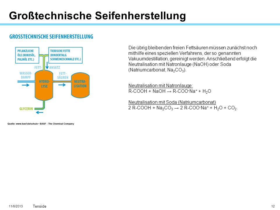 11/6/2013 Tenside 12 Großtechnische Seifenherstellung Die übrig bleibenden freien Fettsäuren müssen zunächst noch mithilfe eines speziellen Verfahrens