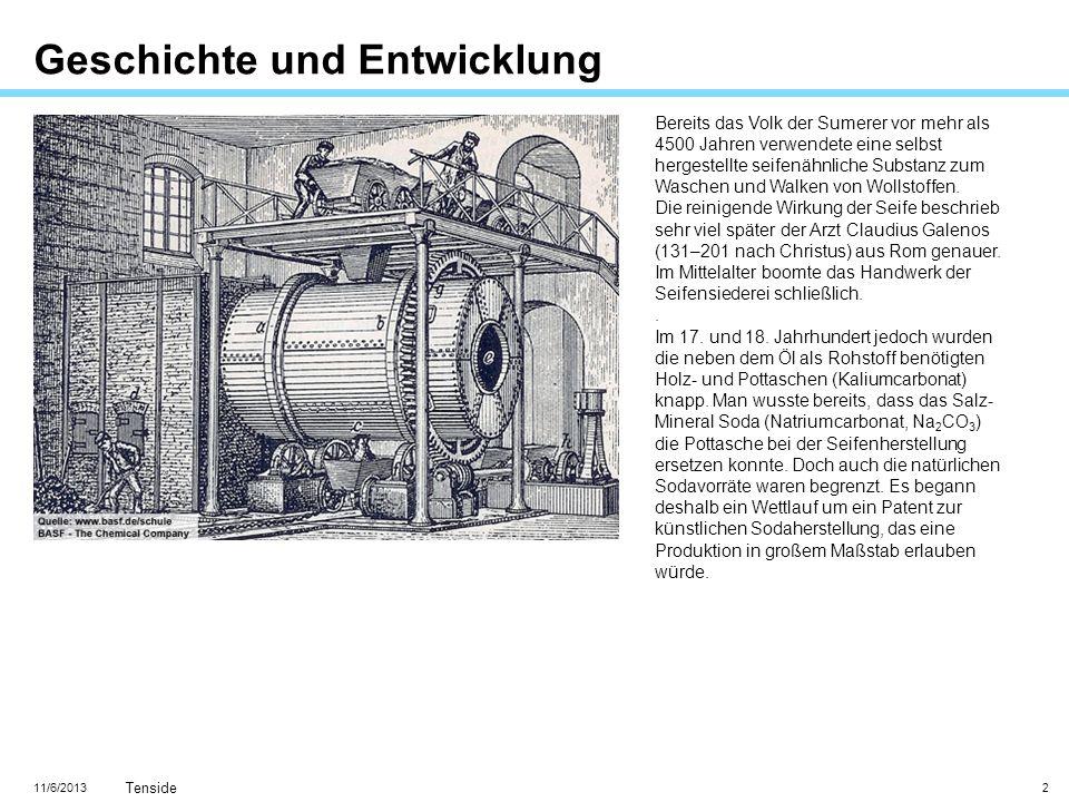 11/6/2013 Tenside 13 Großtechnische Seifenherstellung Es entstehen die Natrium- oder Kaliumsalze der Fettsäuren.