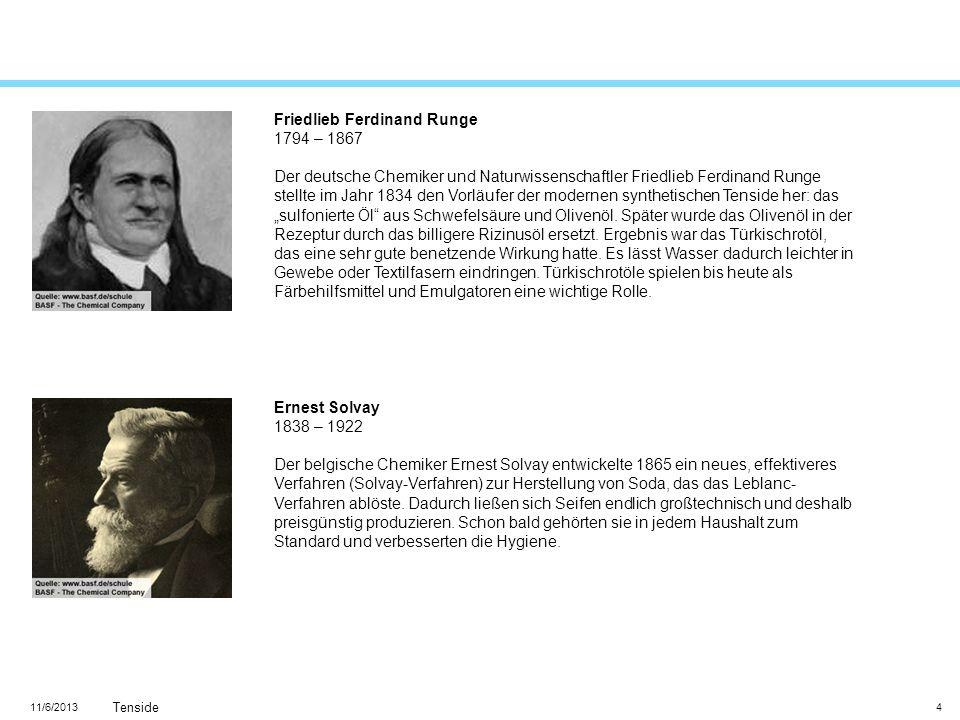 11/6/2013 Tenside 4 Friedlieb Ferdinand Runge 1794 – 1867 Der deutsche Chemiker und Naturwissenschaftler Friedlieb Ferdinand Runge stellte im Jahr 183