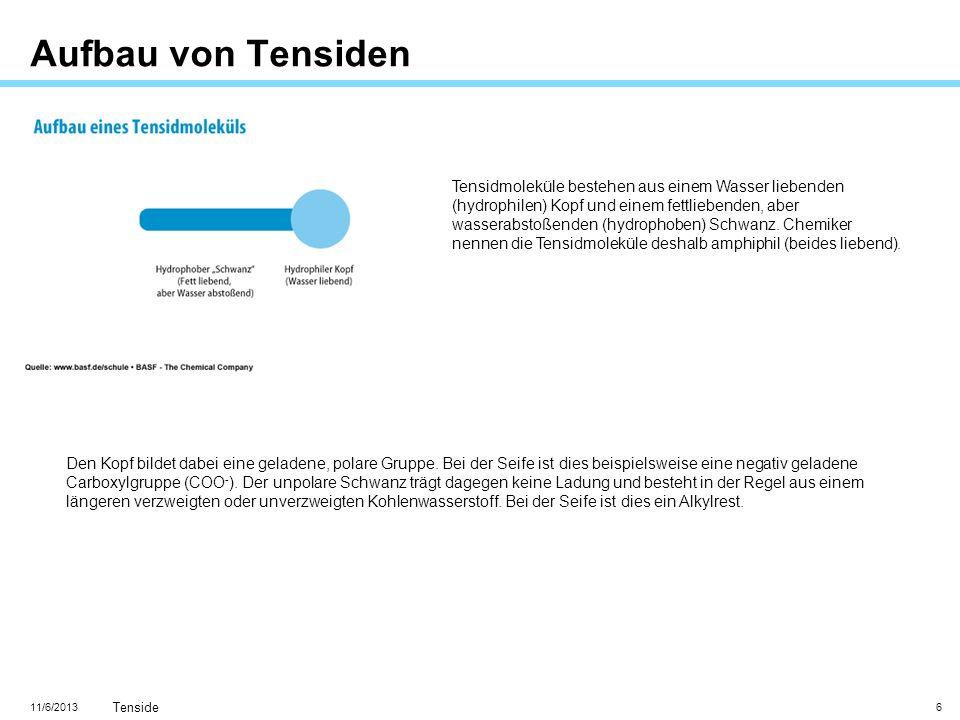 11/6/2013 Tenside 6 Aufbau von Tensiden Tensidmoleküle bestehen aus einem Wasser liebenden (hydrophilen) Kopf und einem fettliebenden, aber wasserabst