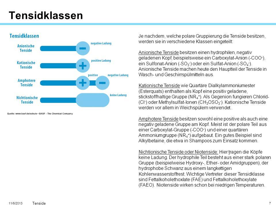 11/6/2013 Tenside 8 Globaler Tensidmarkt Rund zwölf Milliarden Euro werden heute weltweit jährlich beim Handel mit Tensiden umgesetzt.