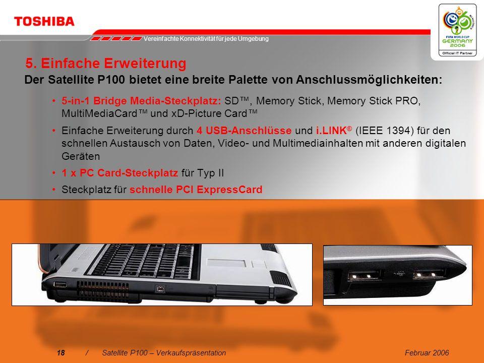 Februar 200617/Satellite P100 – Verkaufspräsentation Integriertes Wireless LAN 802.11a/b/g mit Dual-Modus 10/100/1000 Gigabit Ethernet LAN-Schnittstel