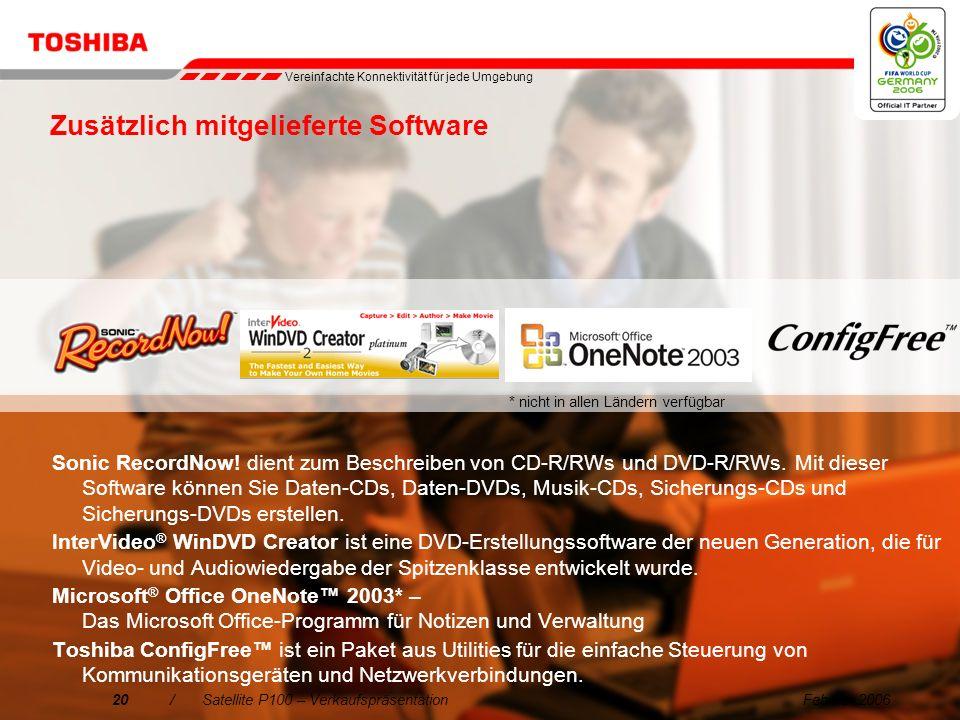 Februar 200619/Satellite P100 – Verkaufspräsentation 5. Einfache Erweiterung DVI-out-Anschluss: Satellite P100 ist Toshibas erstes Notebook mit einem