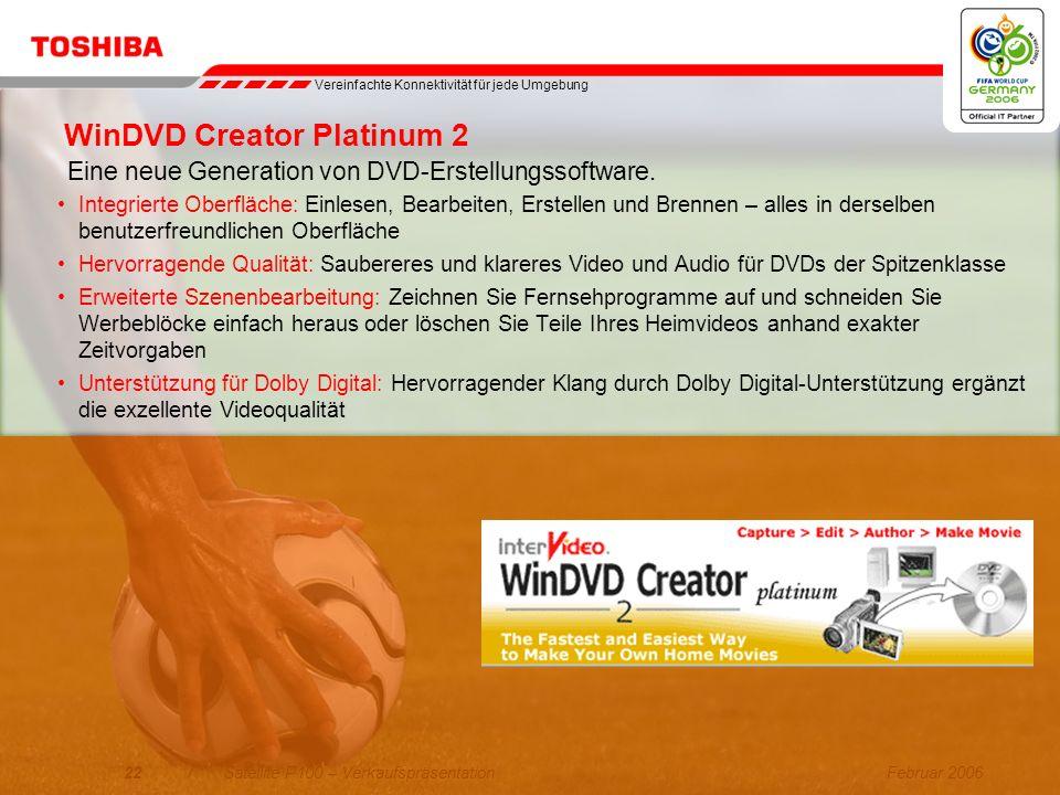 Februar 200621/Satellite P100 – Verkaufspräsentation Sonic RecordNow! Benutzerfreundlichkeit der Extraklasse: –Benutzeroberfläche bringt dem Benutzer