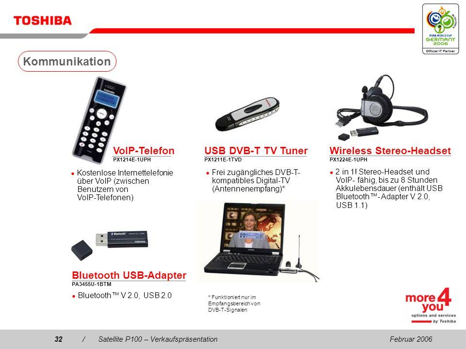 Februar 200631/Satellite P100 – Verkaufspräsentation 256/512 MB/1 GB PC2-4300 DDR2-Speicher (533 MHz) PA3389U-2M25 (256 MB, 533 MHz)PA3499U-1M25 (256