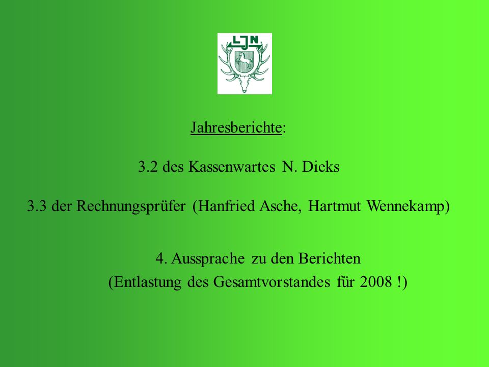 Jahresberichte: 3.2 des Kassenwartes N. Dieks 3.3 der Rechnungsprüfer (Hanfried Asche, Hartmut Wennekamp) 4. Aussprache zu den Berichten (Entlastung d