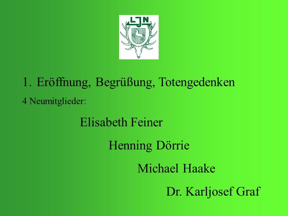 1.Eröffnung, Begrüßung, Totengedenken 4 Neumitglieder: Elisabeth Feiner Henning Dörrie Michael Haake Dr. Karljosef Graf