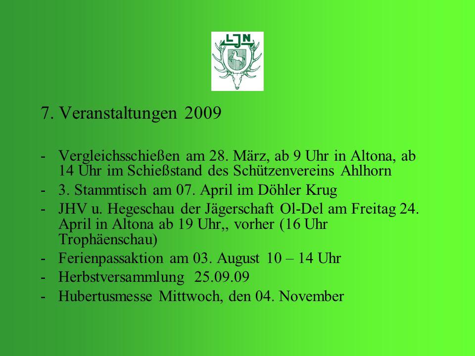 7. Veranstaltungen 2009 -V-Vergleichsschießen am 28. März, ab 9 Uhr in Altona, ab 14 Uhr im Schießstand des Schützenvereins Ahlhorn -3-3. Stammtisch a