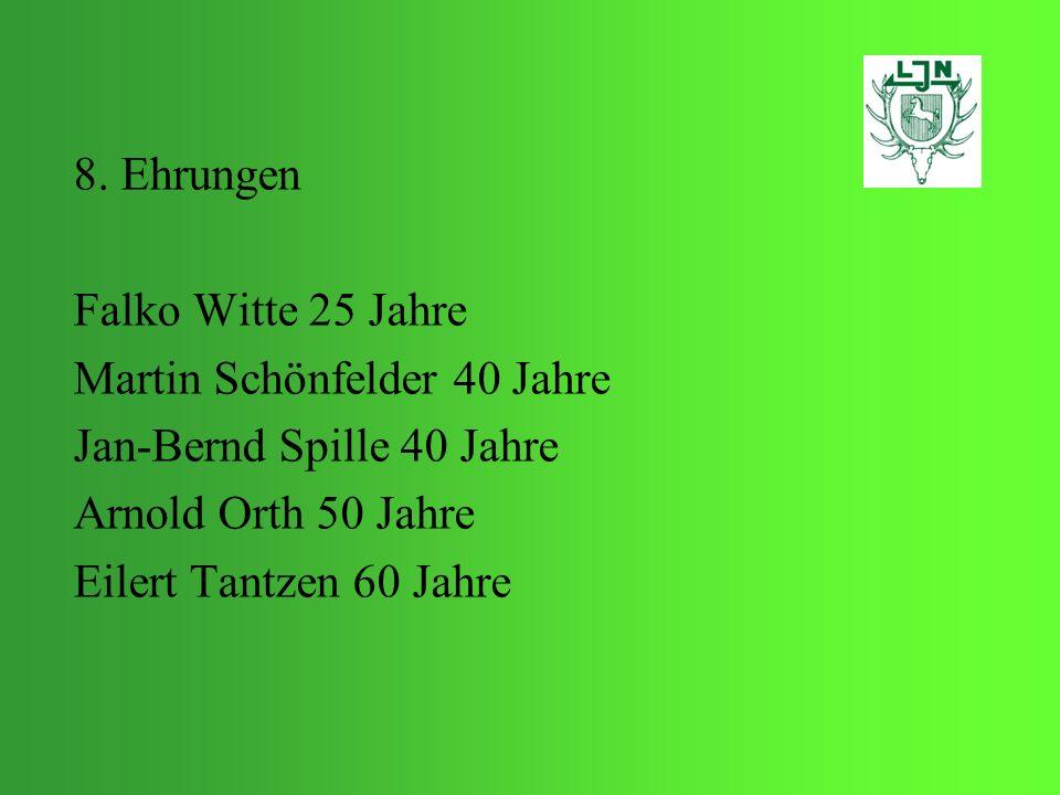 8. Ehrungen Falko Witte 25 Jahre Martin Schönfelder 40 Jahre Jan-Bernd Spille 40 Jahre Arnold Orth 50 Jahre Eilert Tantzen 60 Jahre