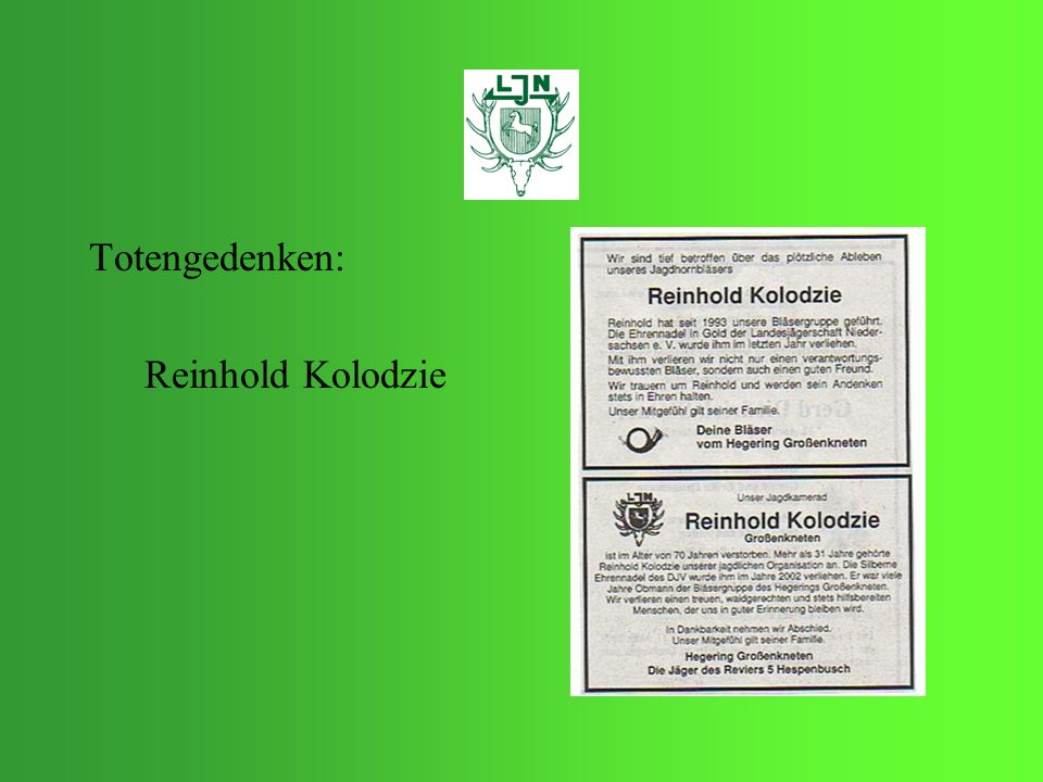 Totengedenken: Reinhold Kolodzie