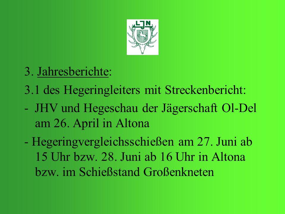 3. Jahresberichte: 3.1 des Hegeringleiters mit Streckenbericht: - JHV und Hegeschau der Jägerschaft Ol-Del am 26. April in Altona - Hegeringvergleichs