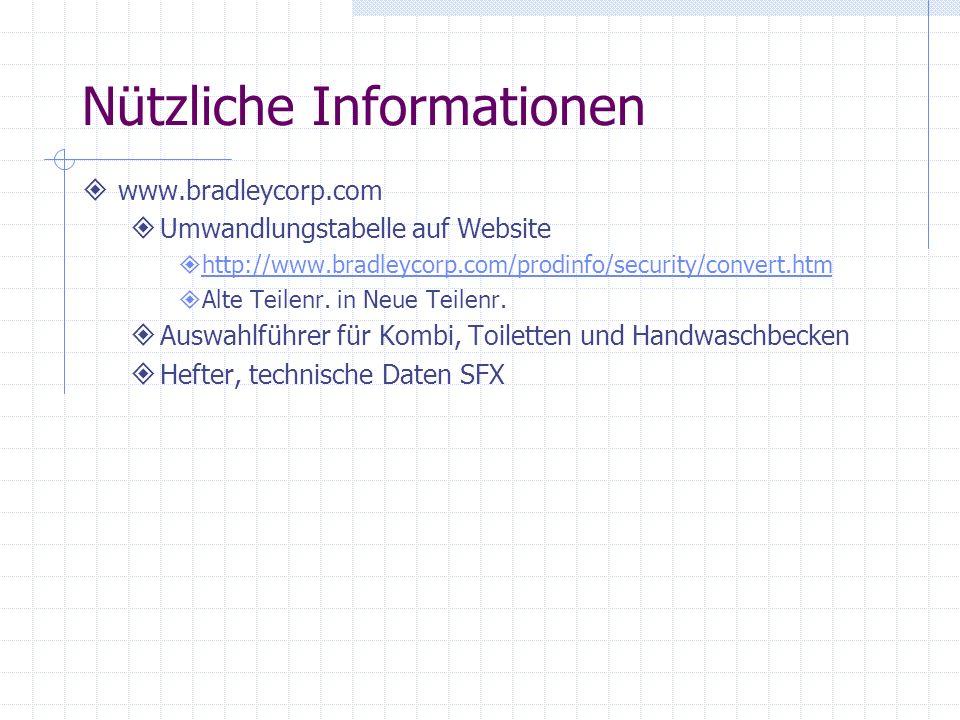 Nützliche Informationen www.bradleycorp.com Umwandlungstabelle auf Website http://www.bradleycorp.com/prodinfo/security/convert.htm Alte Teilenr. in N