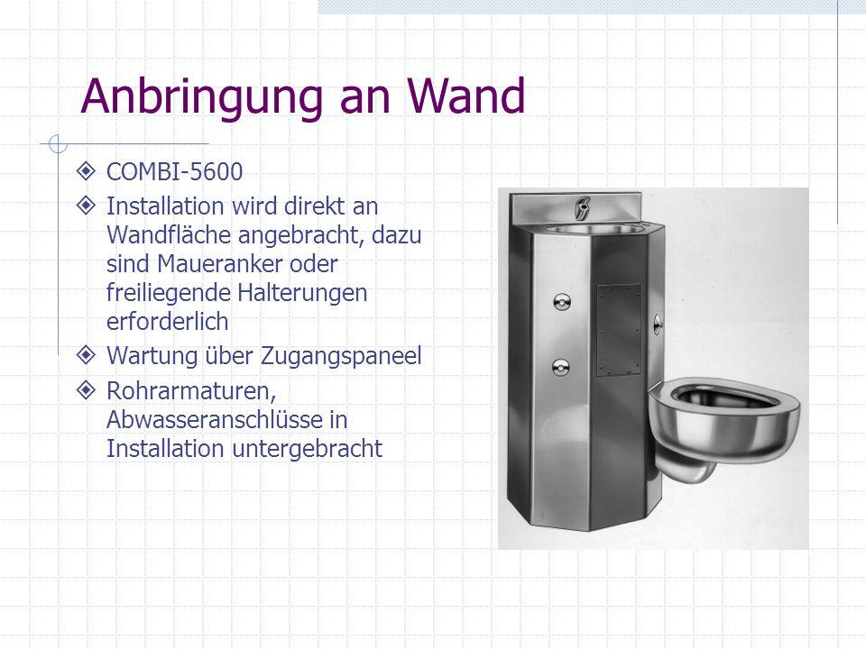 COMBI-5600 Installation wird direkt an Wandfläche angebracht, dazu sind Maueranker oder freiliegende Halterungen erforderlich Wartung über Zugangspane