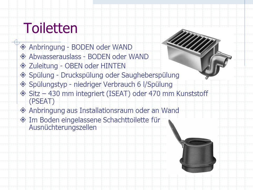 Toiletten Anbringung - BODEN oder WAND Abwasserauslass - BODEN oder WAND Zuleitung - OBEN oder HINTEN Spülung - Druckspülung oder Saugheberspülung Spü