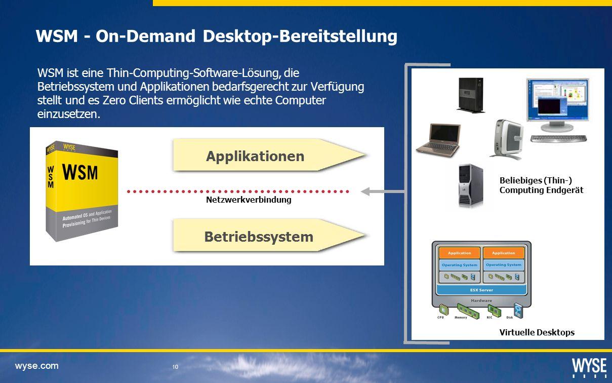 wyse.com 10 WSM - On-Demand Desktop-Bereitstellung WSM ist eine Thin-Computing-Software-Lösung, die Betriebssystem und Applikationen bedarfsgerecht zur Verfügung stellt und es Zero Clients ermöglicht wie echte Computer einzusetzen.