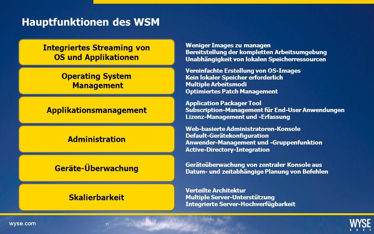 wyse.com 11 Hauptfunktionen des WSM Integriertes Streaming von OS und Applikationen Operating System Management Applikationsmanagement Administration