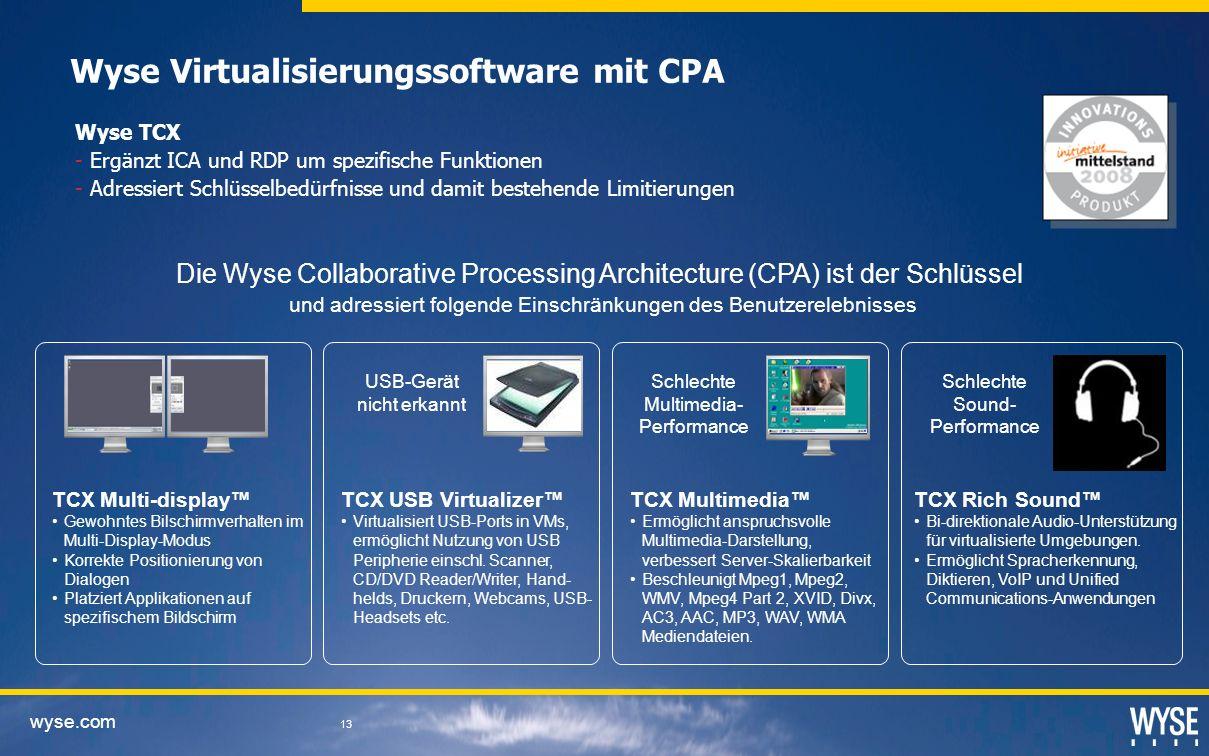 wyse.com 13 Wyse Virtualisierungssoftware mit CPA USB-Gerät nicht erkannt TCX Multi-display Gewohntes Bilschirmverhalten im Multi-Display-Modus Korrek