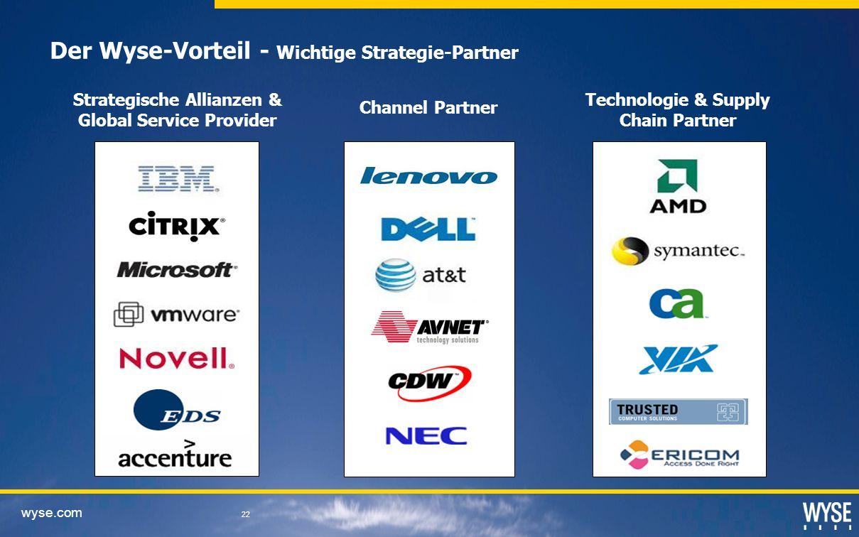 wyse.com 22 Strategische Allianzen & Global Service Provider Channel Partner Der Wyse-Vorteil - Wichtige Strategie-Partner Technologie & Supply Chain Partner