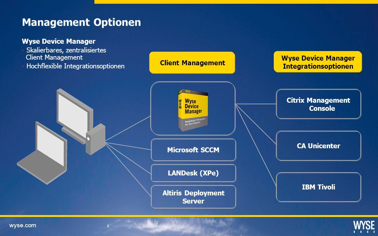 wyse.com 8 IBM Tivoli Management Optionen Client Management Wyse Device Manager Integrationsoptionen Citrix Management Console CA Unicenter Altiris Deployment Server Microsoft SCCM LANDesk (XPe) Wyse Device Manager - Skalierbares, zentralisiertes Client Management - Hochflexible Integrationsoptionen