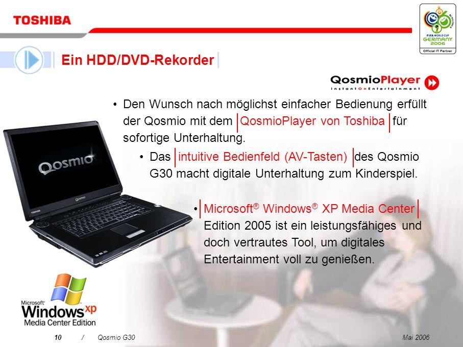 Mai 20069/Qosmio G30 Ein LCD-Fernseher Ein HDD/DVD-Rekorder Ein virtuelles Surround Sound-System Ein leistungsfähiger, vielseitiger PC Qosmio – Ihre 4