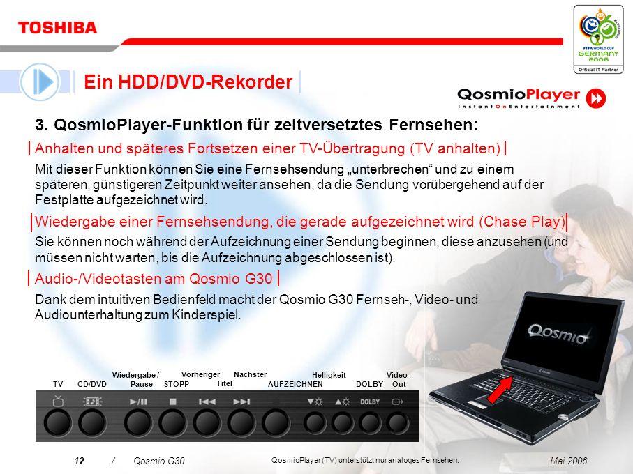 Mai 200611/Qosmio G30 1. TV-Wiedergabefunktionen von QosmioPlayer: Diese intuitive grafische Schnittstelle umgeht das Windows ® -Betriebssystem beim H