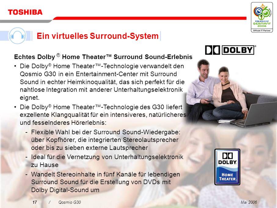 Mai 200616/Qosmio G30 Die Harman Kardon ® -Stereolautsprecher des Qosmio G30 sind mit neuer Bassreflextechnik versehen und bieten beste Klangqualität