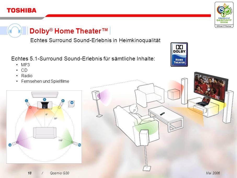 Mai 200617/Qosmio G30 Echtes Dolby ® Home Theater Surround Sound-Erlebnis Die Dolby ® Home Theater-Technologie verwandelt den Qosmio G30 in ein Entert