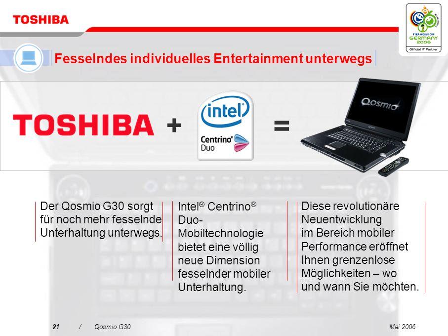 Mai 200620/Qosmio G30 Neueste Intel ® Centrino ® Duo-Mobiltechnologie mit leistungsstarker Dual Core-Verarbeitung Funktionalität zweier Festplattenlau