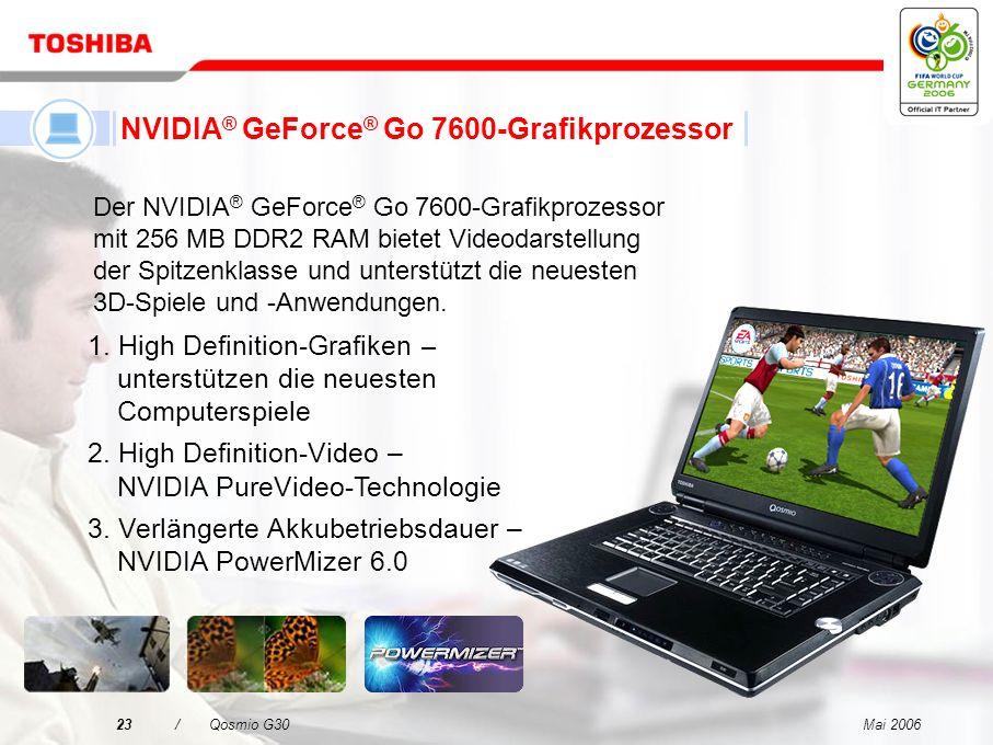 Mai 200622/Qosmio G30 Toshiba-RAID-Unterstützung Zusammenfassung der Funktionen und Vorteile RAID-1 unterstützt –Der Kunde kann ohne Ausfallzeit selbs