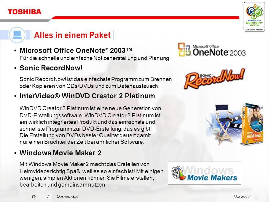 Mai 200624/Qosmio G30 Problemlose Erweiterung und Konnektivität 6-in-1 Bridge Media-Steckplatz 4 USB-Anschlüsse i.LINK ® (IEEE 1394) PC Card-Steckplat