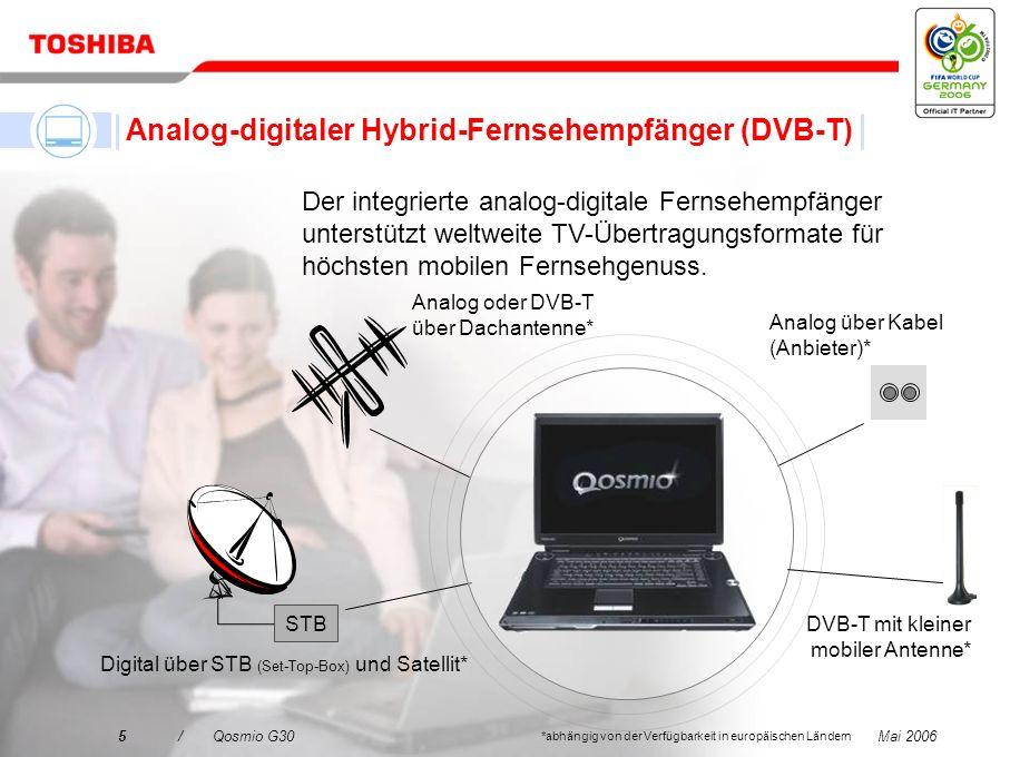 Mai 20064/Qosmio G30 Ein LCD-Fernseher Mit dem integrierten Hybrid-Fernsehempfänger (analog-digitaler Fernsehempfänger (DVB-T)) können Sie Ihre Liebli