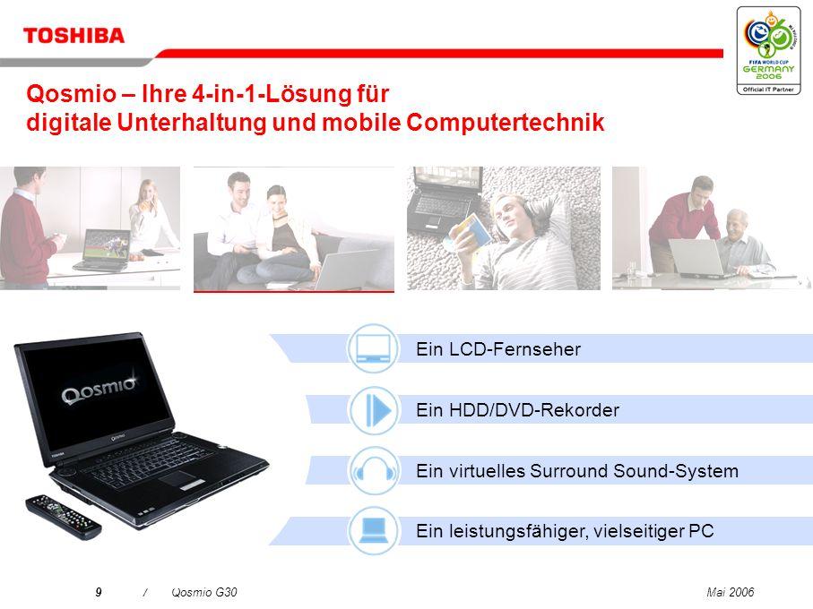 Mai 20069/Qosmio G30 Ein LCD-Fernseher Ein HDD/DVD-Rekorder Ein virtuelles Surround Sound-System Ein leistungsfähiger, vielseitiger PC Qosmio – Ihre 4-in-1-Lösung für digitale Unterhaltung und mobile Computertechnik
