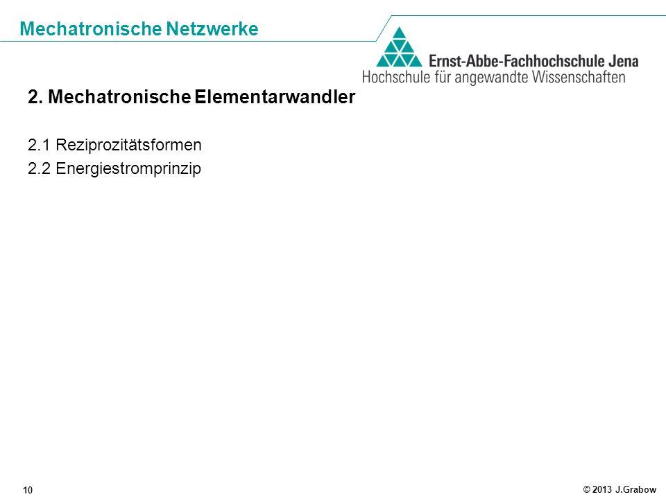 Mechatronische Netzwerke 10 © 2013 J.Grabow 2. Mechatronische Elementarwandler 2.1 Reziprozitätsformen 2.2 Energiestromprinzip