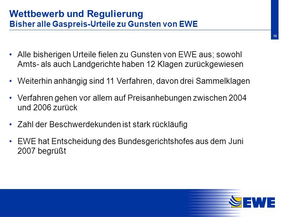 10 Alle bisherigen Urteile fielen zu Gunsten von EWE aus; sowohl Amts- als auch Landgerichte haben 12 Klagen zurückgewiesen Weiterhin anhängig sind 11