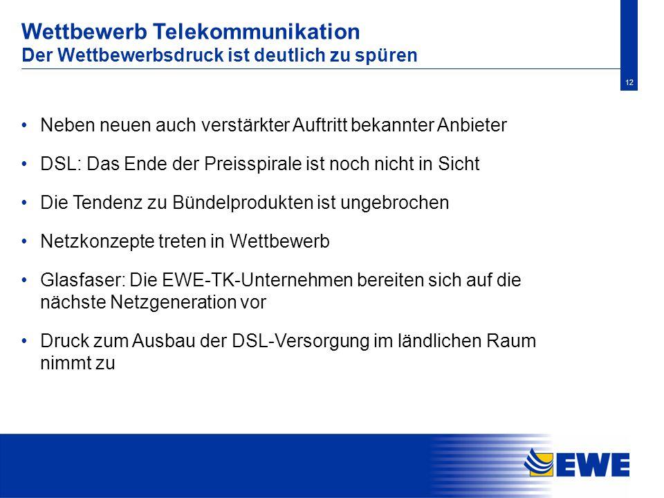 12 Wettbewerb Telekommunikation Der Wettbewerbsdruck ist deutlich zu spüren Neben neuen auch verstärkter Auftritt bekannter Anbieter DSL: Das Ende der