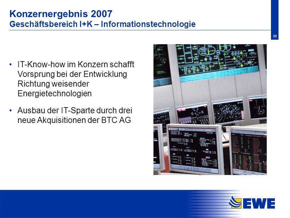 20 Konzernergebnis 2007 Geschäftsbereich I+K – Informationstechnologie IT-Know-how im Konzern schafft Vorsprung bei der Entwicklung Richtung weisender