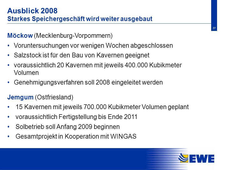 27 Ausblick 2008 Starkes Speichergeschäft wird weiter ausgebaut Möckow (Mecklenburg-Vorpommern) Voruntersuchungen vor wenigen Wochen abgeschlossen Sal