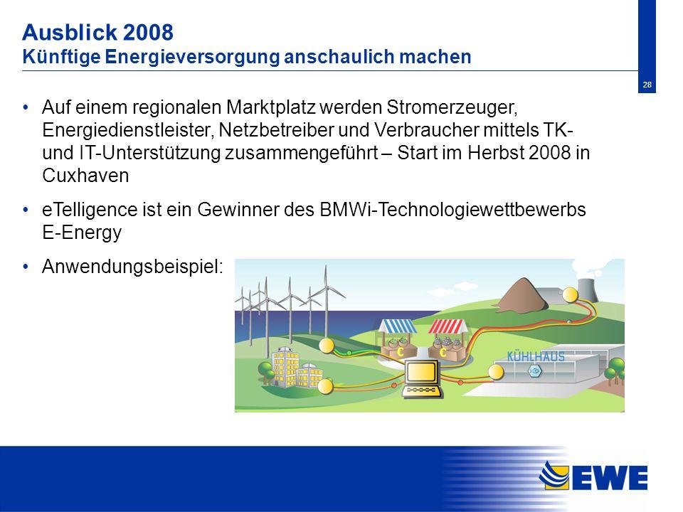 28 Ausblick 2008 Künftige Energieversorgung anschaulich machen Auf einem regionalen Marktplatz werden Stromerzeuger, Energiedienstleister, Netzbetreib