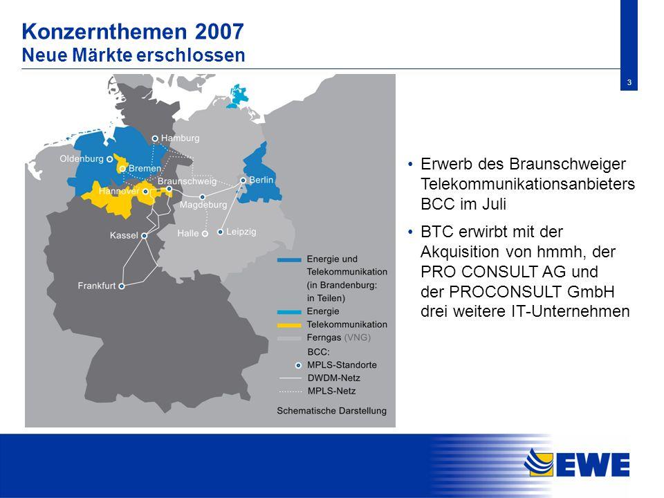 3 Konzernthemen 2007 Neue Märkte erschlossen Erwerb des Braunschweiger Telekommunikationsanbieters BCC im Juli BTC erwirbt mit der Akquisition von hmm